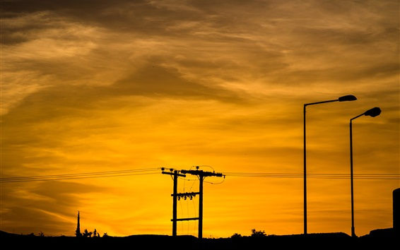 Wallpaper Power lines, wires, sunset