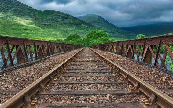 Обои Железная дорога, горы, зеленый, стиль HDR