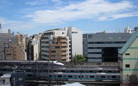 Fond d'écran Chemin de fer, train, Shinkansen, ville, bâtiments, Tokyo, Japon
