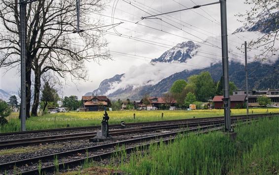 Wallpaper Railway, village, mountains, grass