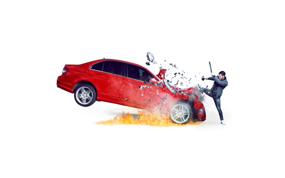 Wallpaper Red car, fragments, speed, white background