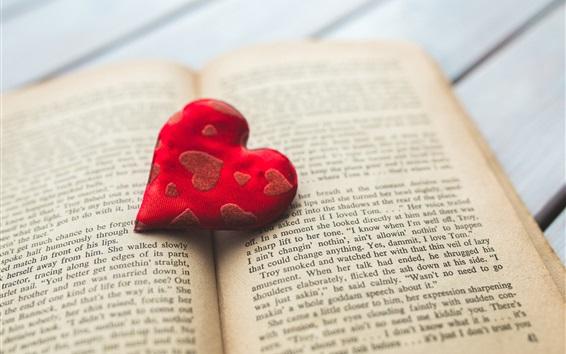 Wallpaper Red cloth love heart, book