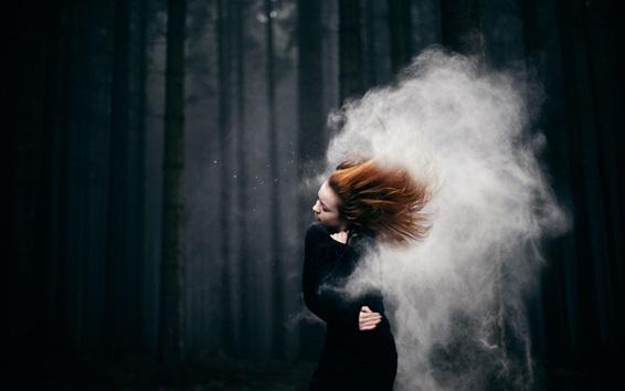 Wallpaper Red hair girl, storm, smoke, trees