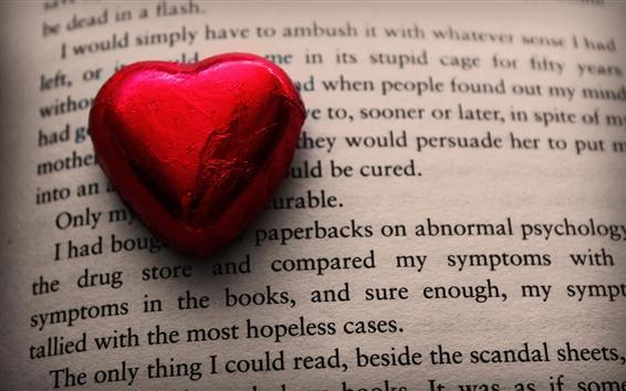배경 화면 빨간 사랑 심장 사탕, 책