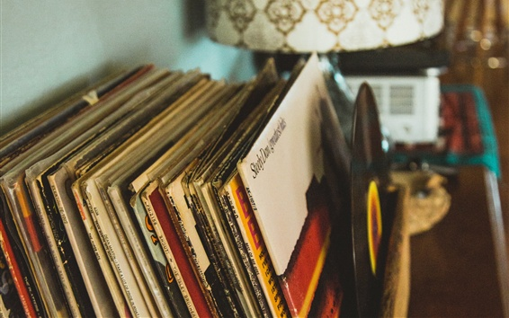 Wallpaper Retro style, vinyl records collection