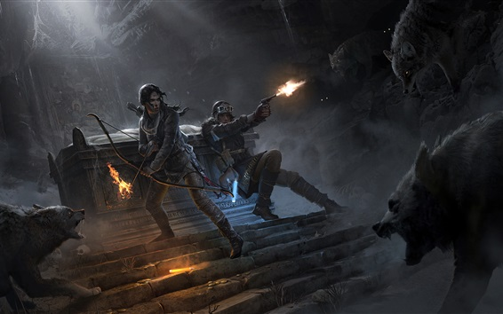 Fond d'écran Rise of the Tomb Raider, Lara Croft, arc, loup, feu