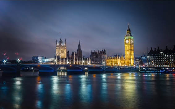 Wallpaper River, water reflection, night, bridge, lights, Big Ben, England, London