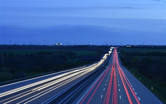 Wallpaper Road, light lines, traffic, evening