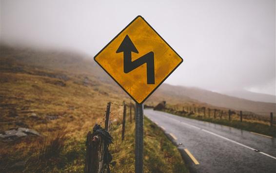 Обои Дорожный знак, сельская местность