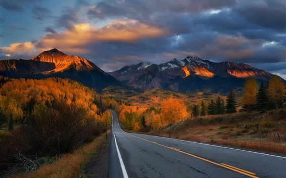 Wallpaper Road, trees, mountains, autumn, clouds, dusk