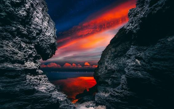 Wallpaper Rocks, cloudy sky, river, night