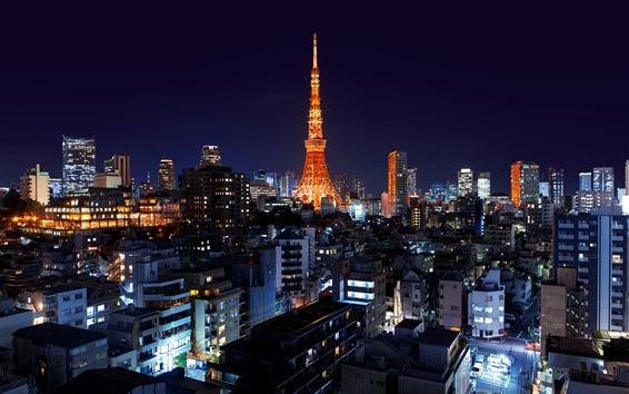 Fondos de pantalla Roppongi, Minato, Japón, Tokio, torre, noche, ciudad, luces