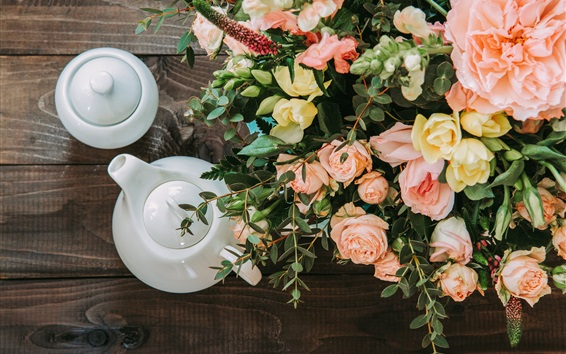 Fond d'écran Fleurs roses, thé, théière