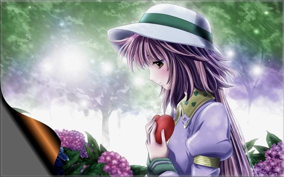 壁紙 悲しみアニメ少女、紫色の髪、帽子、雨