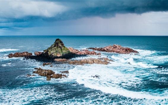 Wallpaper Sea, island, stones, waves, foam