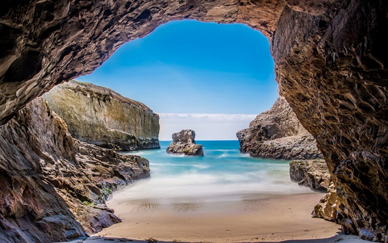 Papéis de Parede Mar, rochas, gruta, EUA