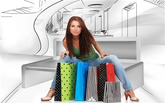 壁紙 ショッピングガール、カラフルなバッグ