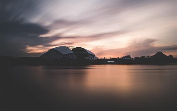 Fond d'écran Singapour, stade national, crépuscule, mer, coucher de soleil