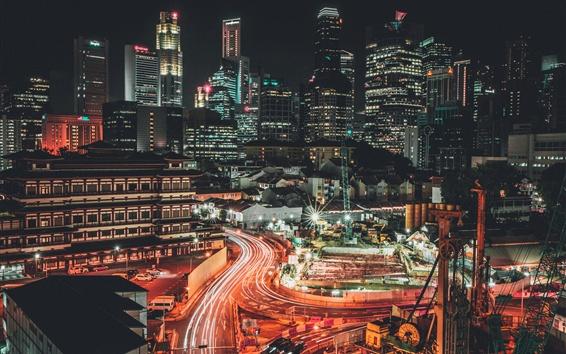Papéis de Parede Cingapura, cidade, noite, arranha-céus, casas, luzes