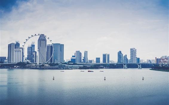 Fondos de pantalla Singapur, ciudad, rascacielos, río, puente, barcos, rueda de ferris