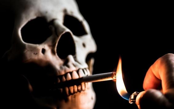 壁紙 頭蓋骨、たばこ、火、ライター