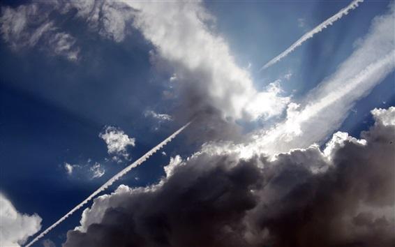 Wallpaper Sky, clouds, sun rays