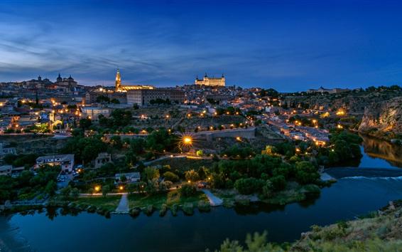 Papéis de Parede Espanha, Toledo, arquitetura, cidade, noite, rio, árvores, luzes