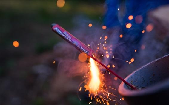 Wallpaper Sparks, fireworks, rocket