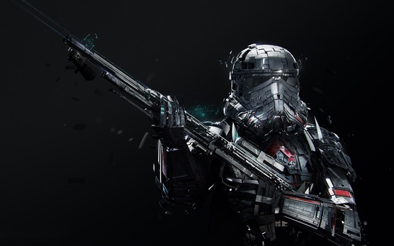 Wallpaper Star Wars, soldier, gun, black background