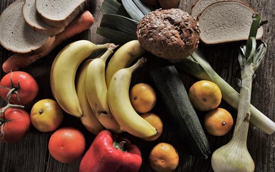 Wallpaper Still life, bananas, tomatoes, oranges, vegetables