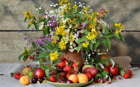 Fond d'écran Nature morte, beaucoup de sort fruits, fleurs