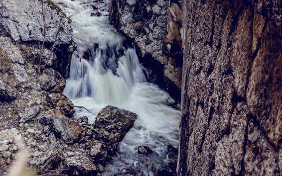 Обои Поток, скалы, природа
