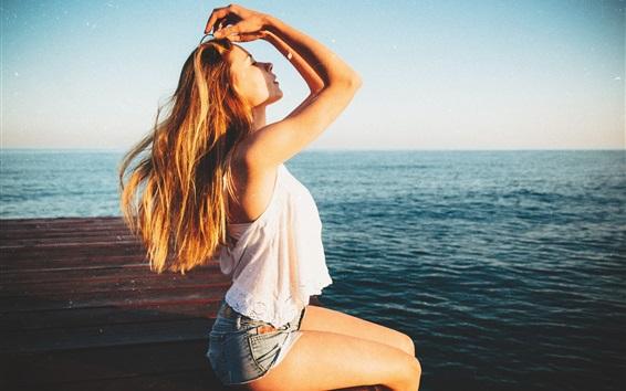 Wallpaper Summer girl, sea
