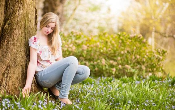Wallpaper Summer, pure young girl, tree, grass