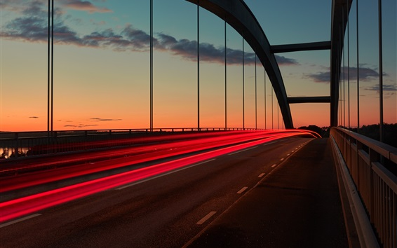 Wallpaper Sunset, bridge, light lines