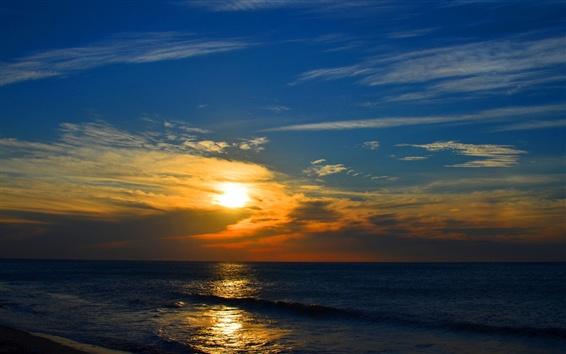 Wallpaper Sunset, clouds, sea, sky