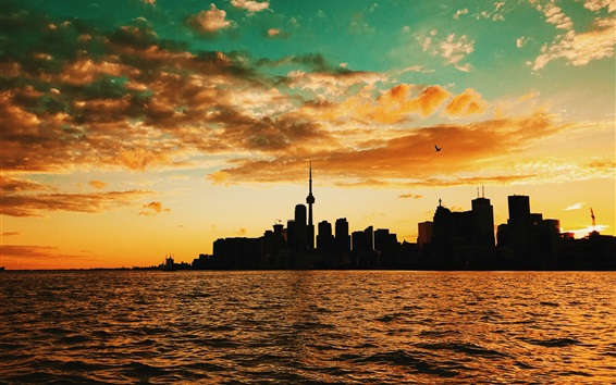 Wallpaper Sunset, sea, buildings, clouds, Toronto, Canada