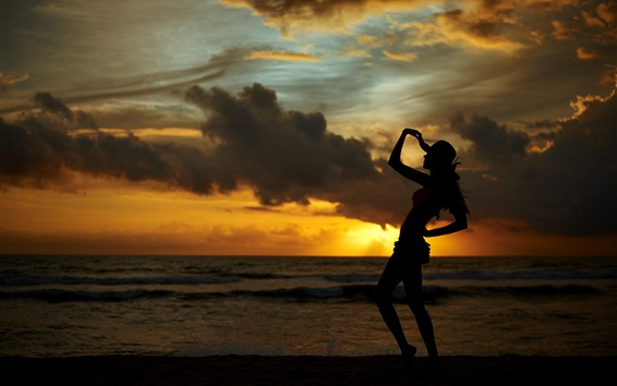 Wallpaper Sunset, sea, coast, girl silhouette