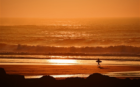 Wallpaper Sunset, sea, waves, beach, surfer