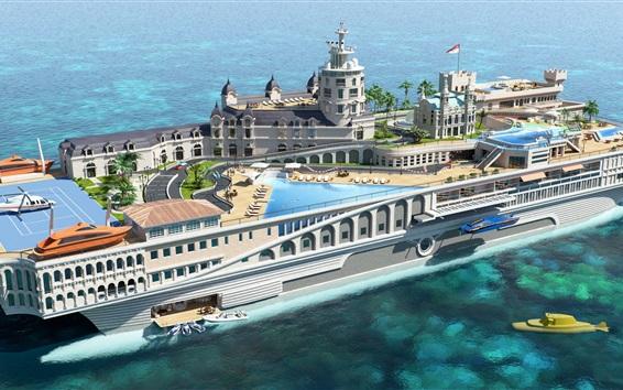 Papéis de Parede Superyacht, iate-ilha, mar, design futurista