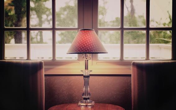 Обои Настольные лампы, окна, дождь