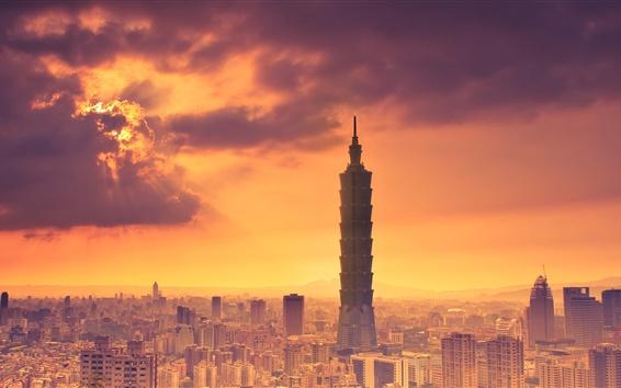 Papéis de Parede Taipei, Taiwan, Taipei 101 edifício, anoitecer, cidade