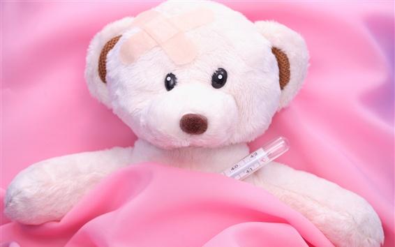 Wallpaper Teddy bear, sick, bed, toy