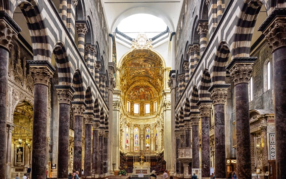 Wallpaper The Cathedral of San Lorenzo, Italy, nave, arch, bench