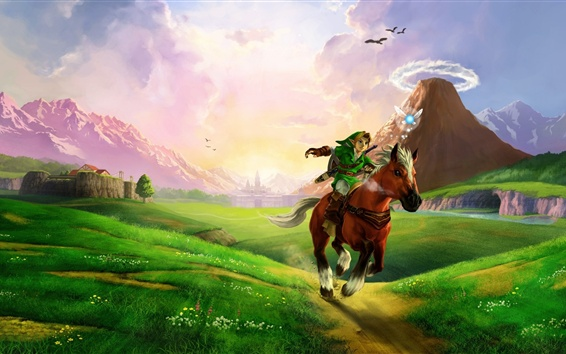 Fondos de pantalla La leyenda de Zelda, caballo, hierba, luz del sol