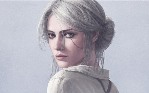 Wallpaper The Witcher 3: Wild Hunt, white hair girl look back