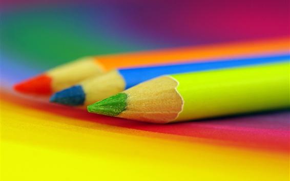 Wallpaper Three colors pencils, blue, green, red