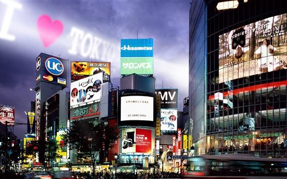 Wallpaper Tokyo, street, advertising, buildings, night, lights, Japan