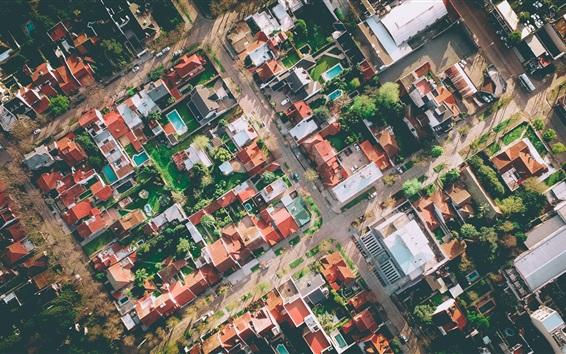 Fond d'écran Vue de dessus la ville, la route, les maisons, les arbres