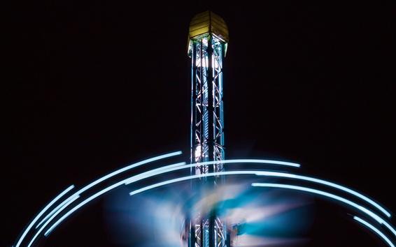 Wallpaper Tower, lights, night